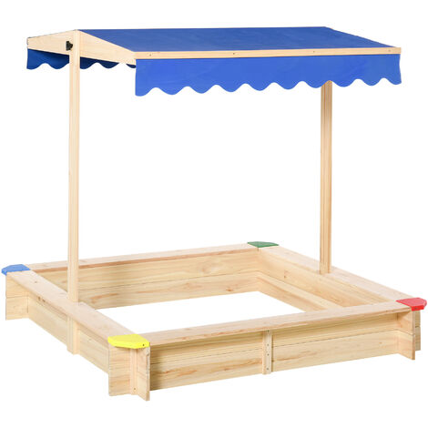 Kids Square Wooden Sandpit Children Cabana Sandbox Outdoor Backyard Playset