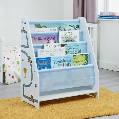 Kids Stars and Cars Book Display - White and Blue