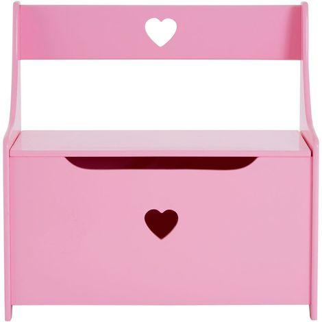 Kids Storage Box/Seat, Pink Heart Design, MDF