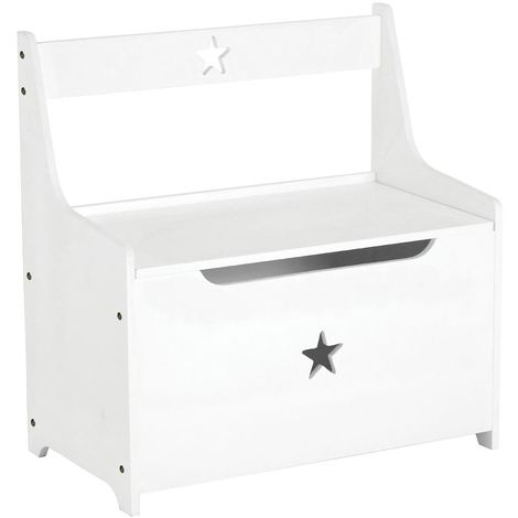 Kids Storage Box/Seat, White Star Design, MDF