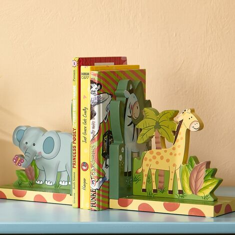 Kids Sunny Safari Bookends by Fantasy Fields Wooden Animal Nursery Décor W-9837A