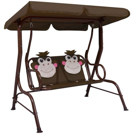 Kids Swing Bench Brown 115x75x110 cm Fabric