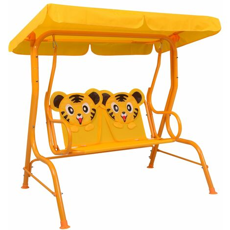 Kids Swing Bench Yellow 115x75x110 cm Fabric - Yellow