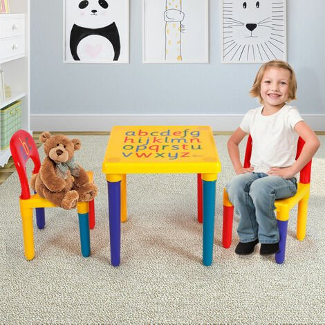 Kids Toddler Table Chairs Set Abc Alphabet Learn Play Plastic