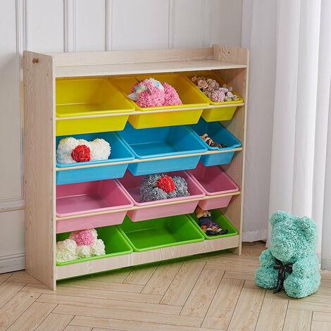 Kids Toy Organizer with 12 Storage Basket- 8 Large Basket and 4 Smaller Basket
