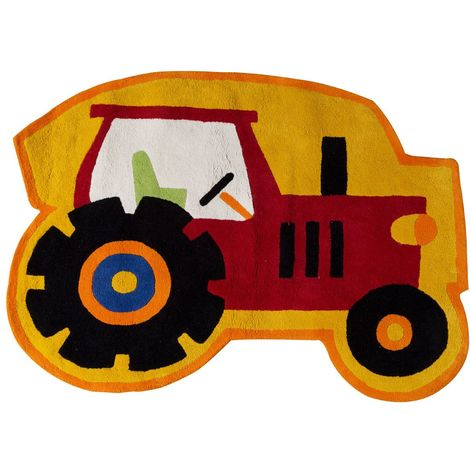 Kids tractor rug,100% cotton,hand tufted