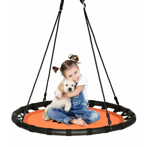 Kids Tree Nest Swing Seat Round Hanging Tree Swing Textilene Height Adjustable