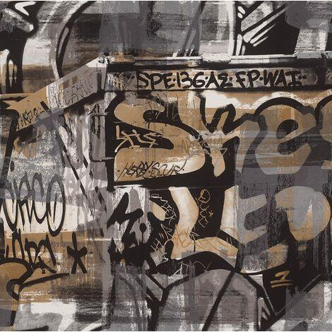 "main image of ""Kids Wallpaper Rasch - Graffiti Paint Spash - Street Art Brown & Silver - 291551"""