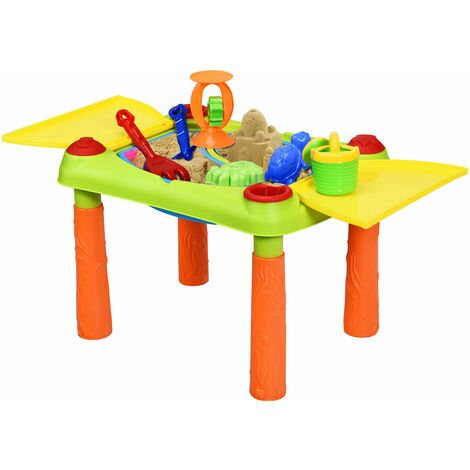 Kids Water and Sand Activity Table Children Indoor Outdoor Play Set W/ 2 Basins