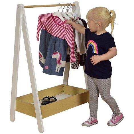Kids White & Pine Hanging Dressing Rail