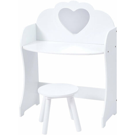 """main image of """"Kids White Wooden Dressing Table and Stool - White"""""""