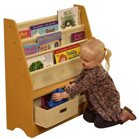 Kids Wooden Book Display Unit - Natural
