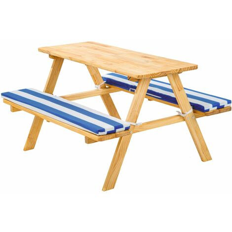 Kids wooden picnic bench - picnic bench, childrens picnic bench, kids picnic bench - blue/white - blau/weiß