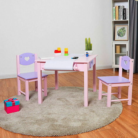 Kids Wooden Table and Chair Set Nursery Play With Roll Painting Paper 2 Drawers