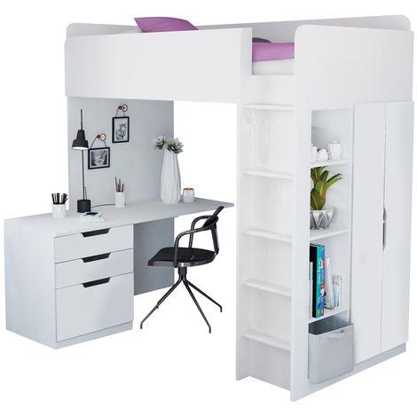 Kidsaw Kids High Sleeper Loft Bed Storage Bundle - Wardrobe Desk Bookcase