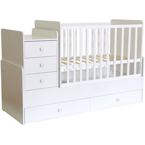 Kidsaw Kudl Cot bed Simple 1100 with drawer unit, white