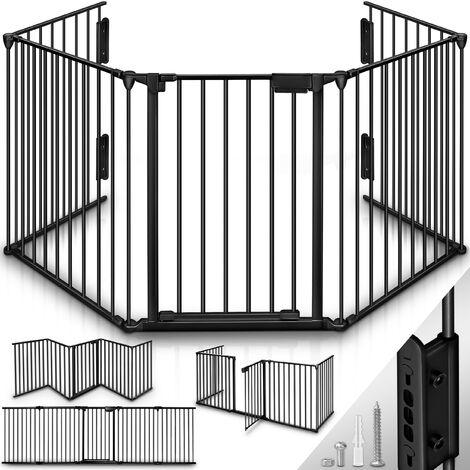 KIDUKU® Barrière de sécurité enfant - GRANDE VERSION 305 cm | Grille de protection métal - pliable | avec porte inclus | 5 éléments - Pré-assemblé