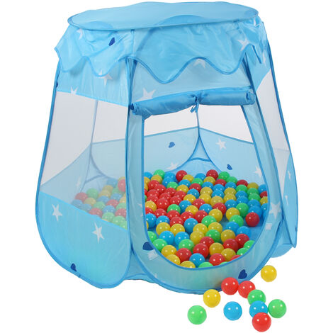 KIDUKU® Childs Play Tent Pop-Up + 100 Balls + Carrying bag Play house Ball pool Castle for Indoor and Outdoor use 3 In 1 Playground for Children Baby Kids (Blue)