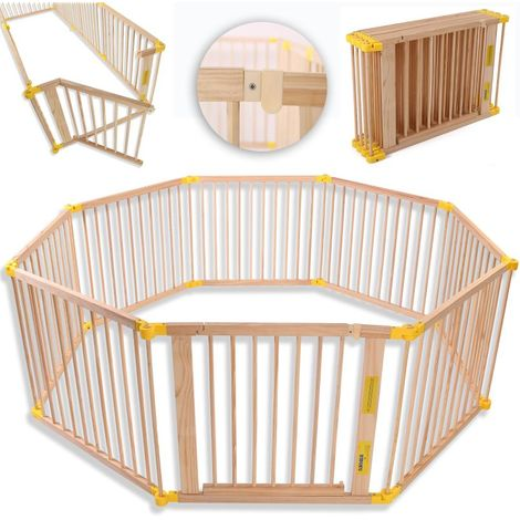 KIDUKU® Laufgitter 7,2M inklusive Tür Baby Laufstall Absperrgitter Kaminschutzgitter