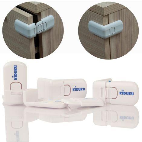 KIDUKU Lot de 4 serrures de sécurité pour placard et tiroirs, y compris bandes adhésives - Sécuritaire pour bébé, enfants