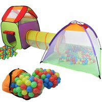 KIDUKU Tente de jeu igloo 3 en 1 avec tunnel + maison de jeu + 200 balles + étui de transport