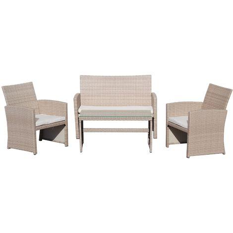 KieferGarden – Conjunto Set Muebles Jardín y Terraza, 4 plazas, Beige, Ratán Sintético, Sofá (109x61x79), Sillones (60x61x79), Mesa (89x46x44)