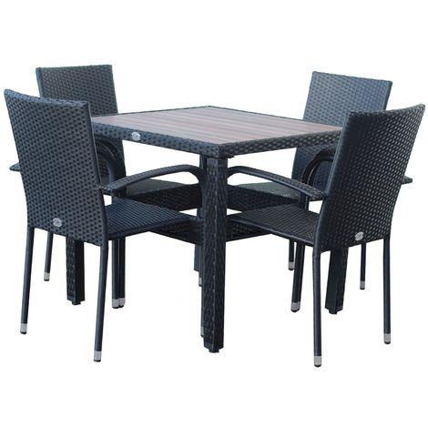 KieferGarden – Conjunto Set Muebles Jardín y Terraza, 4 plazas, Negro, Ratán Sintético, Mesa (80x80x75), Sillas (53x58x85)