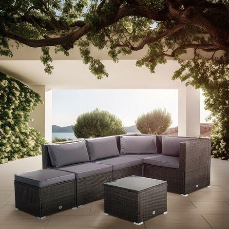KieferGarden – Conjunto Set Muebles Jardín y Terraza, 5 plazas, Gris, Ratán Sintético, Modular