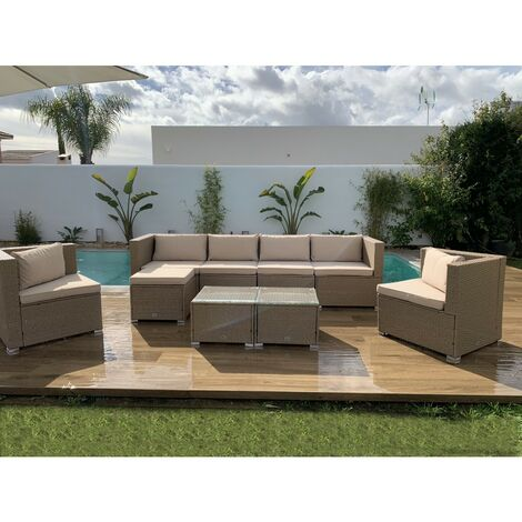 KieferGarden – Conjunto Set Muebles Jardín y Terraza, 7 plazas, Gris, Ratán Sintético, Modular