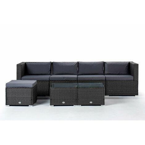 KieferGarden - Ensemble de meubles de jardin et de terrasse, 4 places, gris, deux tables, rotin synthétique, modulable