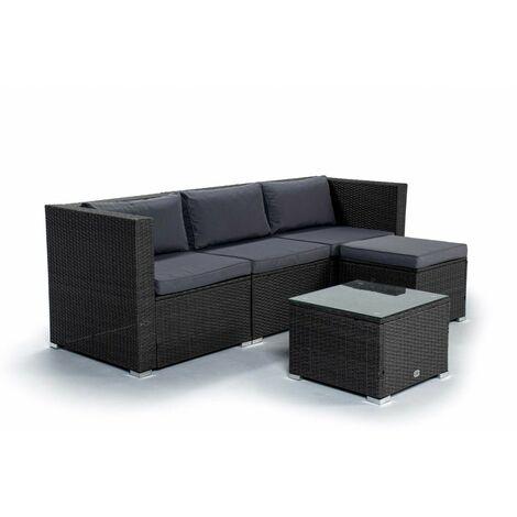KieferGarden - Ensemble de meubles de jardin et de terrasse, 4 places, gris, rotin synthétique, modulable