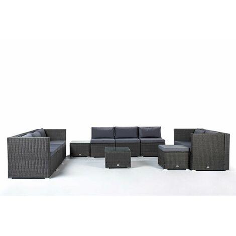 KieferGarden - Ensemble de meubles de jardin et de terrasse, 9 sièges, gris, table double, rotin synthétique, modulable