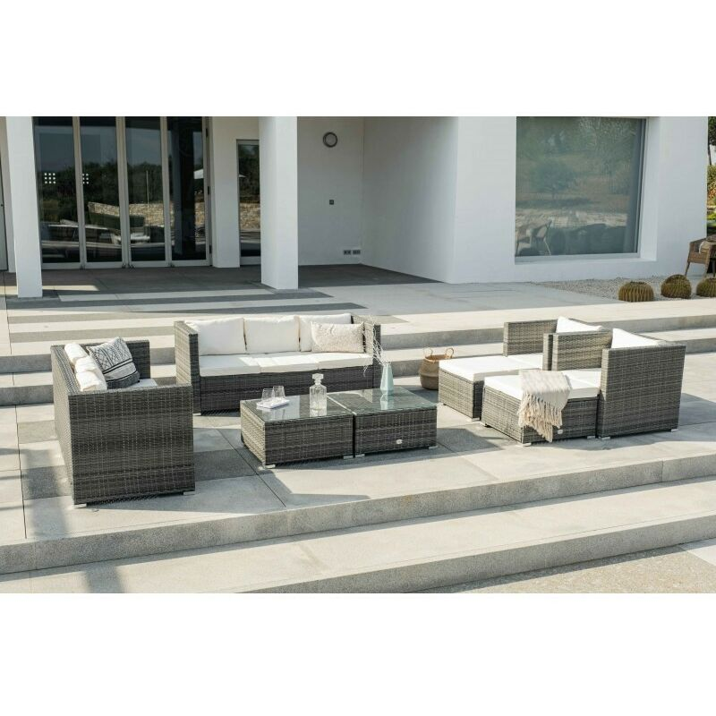 Ensemble de meubles de jardin et terrasse, 10 places, gris, rotin synthétique, modulable - Kiefergarden
