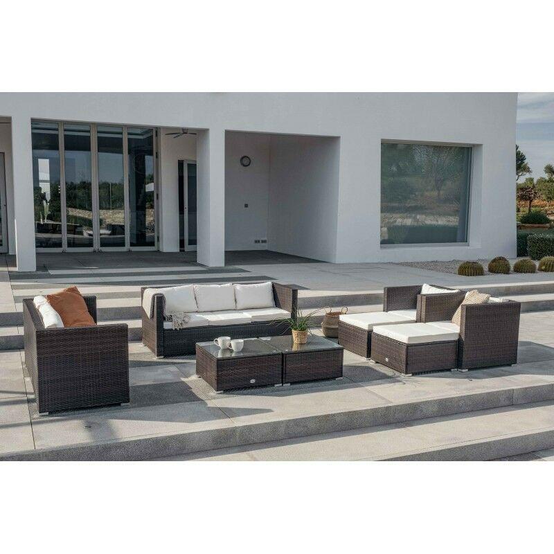 Ensemble de meubles de jardin et terrasse, 10 places, marron, rotin synthétique, modulable - Kiefergarden