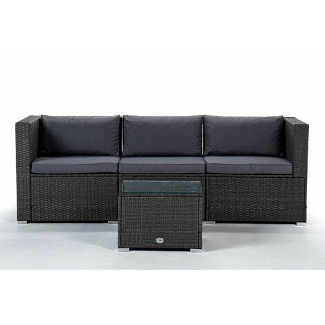 KieferGarden - Ensemble de meubles de jardin et terrasse, 3 places, beige, rotin synthétique, modulable
