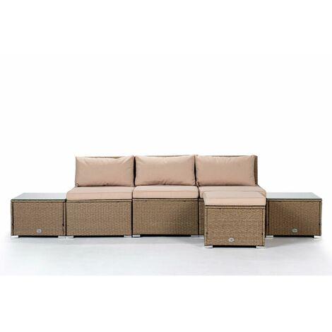 KieferGarden - Ensemble de meubles de jardin et terrasse, 4 places, beige, table double, rotin synthétique, modulable