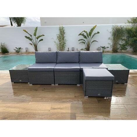 KieferGarden - Ensemble de meubles de jardin et terrasse, 4 places, gris, table double, rotin synthétique, modulable
