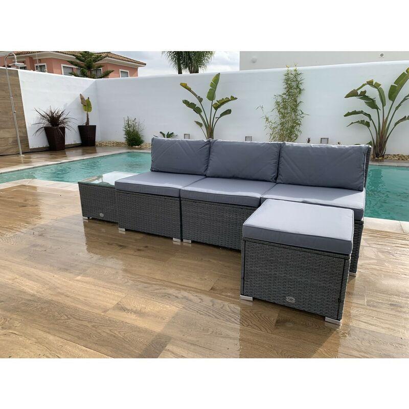 Ensemble de meubles de jardin et terrasse, 4 places, gris, une table, rotin synthétique, ensemble modulaire - Kiefergarden