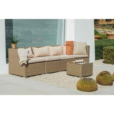 KieferGarden - Ensemble de meubles de jardin et terrasse, 4 sièges, 1 table, beige, rotin synthétique, modulable