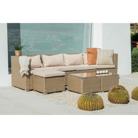 KieferGarden - Ensemble de meubles de jardin et terrasse, 4 sièges, deux tables, beige, rotin synthétique, modulable