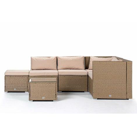 KieferGarden - Ensemble de meubles de jardin et terrasse, 5 places, beige, rotin synthétique, modulable