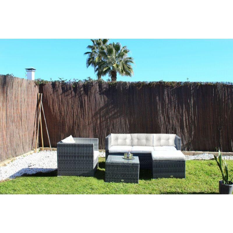 Ensemble de meubles de jardin et terrasse, 5 places, gris, rotin synthétique, modulable - Kiefergarden