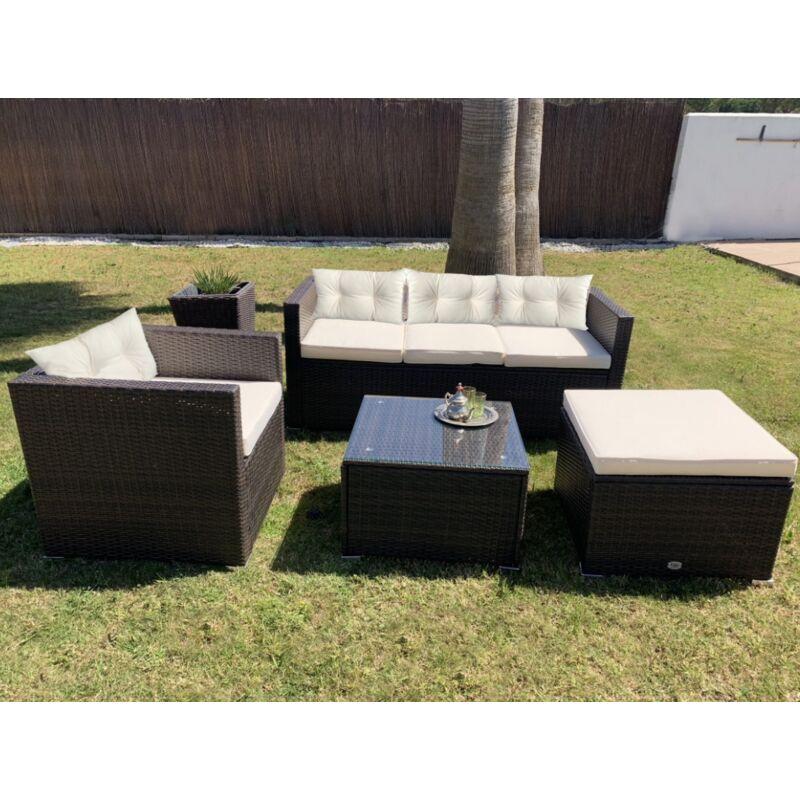 Ensemble de meubles de jardin et terrasse, 5 places, marron, rotin synthétique, modulable - Kiefergarden