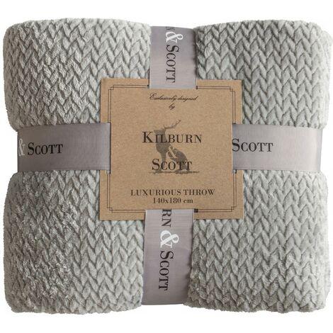 Kilburn & Scott Chevron Flannel Fleece Grey Blanket Sofa/Bed Accessory 140x180cm