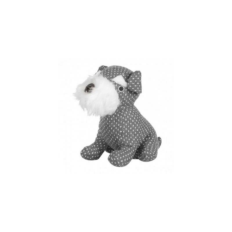 Image of Kilburn & Scott Schnauzer Dog Door Stop Weighted Filled Grey Polka Dot