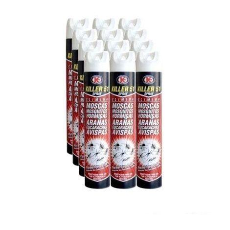 Killer 51 Spray Insecticida Total c/Permetrina - Caja Completa 12 Botes x 750 ml