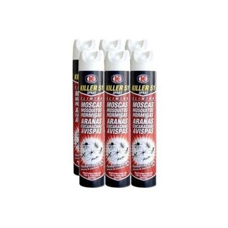 Killer 51 Spray Insecticida Total c/Permetrina - Pack ahorro 6 Botes x 750 ml