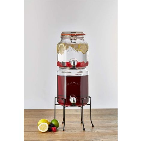 Kilner Glass Stackable Drinks Dispenser with Taps and Stand - 5.2 Litre