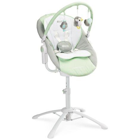 KIMMI | Chaise haute évolutive 3en1 transat + balancelle bébé/enfant 0+ jusqu'à 15 kg | Inclinable + Musique + Vibrations - Menthe