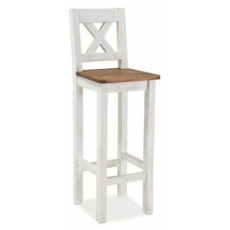 KIMORA | Tabouret de bar style provençal | Dimensions 110x42x42 cm | Chaise haute de cuisine | Chaise de bar en bois - Marron